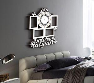 Деревянные часы Любимой бабушке с фоторамками