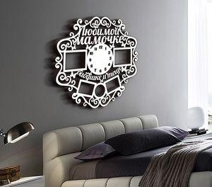 Деревянные часы Любимой мамочке с фоторамками