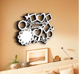 Деревянные часы Счастливы вместе с фоторамками